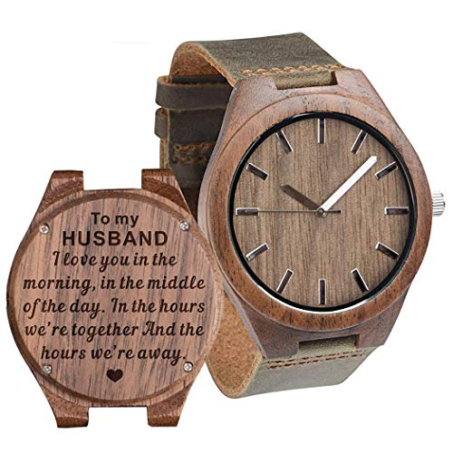Anniversary Gift to My Husband Wooden Watch Engraved I Love You in The Morning, in The Middle, Wife to Husband Gift Best Birthday Gifts for Him Man Leather Band - Walnut