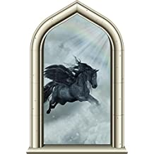 "24"" Castle Window Princess Instant View PEGASUS HORSE #1 Wall Decal Kids Room Sticker Home Office Art Décor Den Man Cave Mural Graphic SMALL"