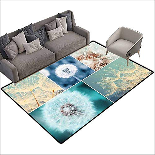 Office Chair Floor Mat Foot Pad Dandelion,Blooming Dandelion Flowers Fluffy Soft Purity Fragrance Natural Organic Color Collage,Blue 64