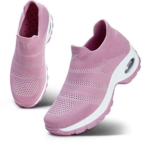 HKR Womens Comfortable Walking Shoes Lightweight Platform Slip On Sneakers Knit Mesh Working Shopping Shoes Pink 9(ZJW1875fense41)