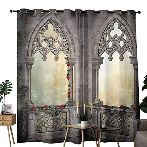 - Mannwarehouse Gothic Decor Heat Insulation Curtain Vintage Ottoman Palace Balcony for Sultans with Red Rose Flowers Ivy Terrace Image Noise Reducing W108 x L84 Beige