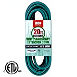 Iron Forge Cable 16/3 SJTW Green Extension Cable with 3 Prong, 20 Feet