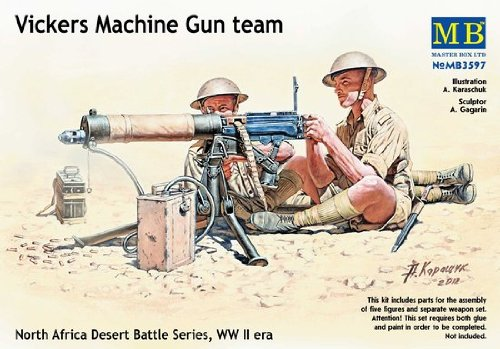 Wwii Machine - Master Box WWII Vickers Machine Gun Team (4) with Gun Figure Model Building Kits (1:35 Scale)