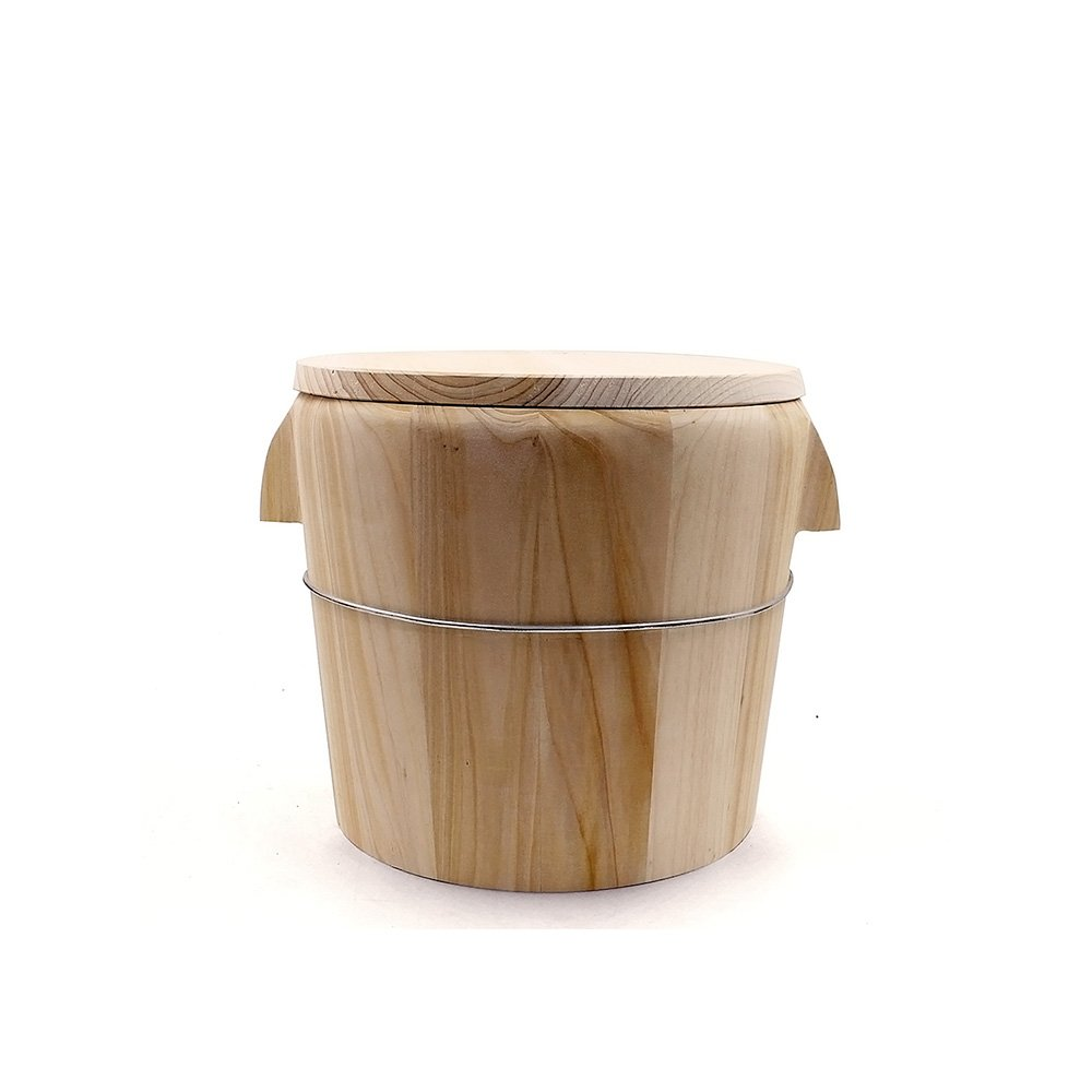 HUANGYIFU Wooden Handmade Rice Bowl Bucket Chinese Restaurant Home Kitchen Steamed Logs Steamed Casks Rice Steamer Steamed Rice Cooker + Flat Wood Lid