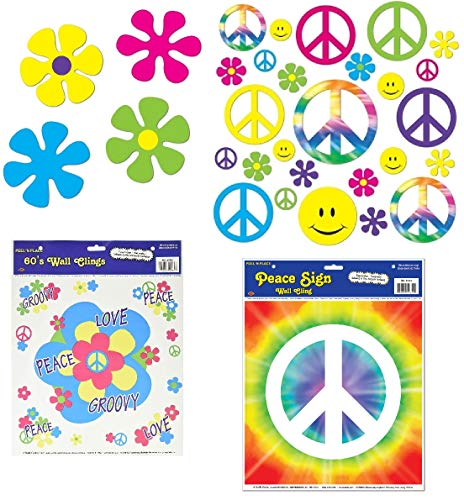 Retro 60s Sixties Party Bundle | Includes 60s Sign Cutouts, Flower Power Cutouts, and Peace and Love Clings ()