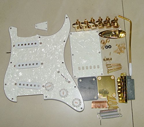 Set Complete Loaded 3 ply Pickguard w/SSS Pickups for fender Strat Guitar (White Pearl)