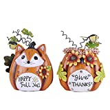 V&M VALERY MADELYN 2 Packs Solar Fall Statues Decorations Inspirational Pumpkin Statues with Fox Owl Shaped, Resin, 8'' inch Tall