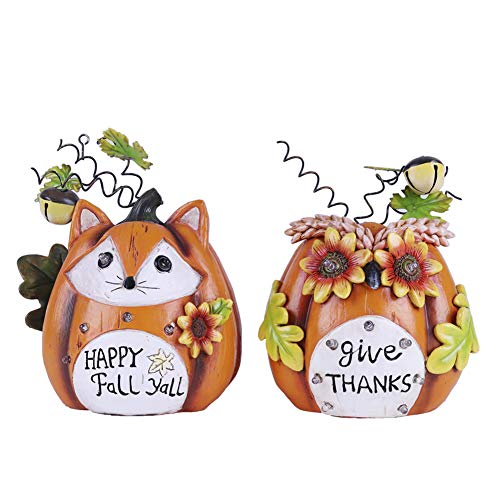 V&M VALERY MADELYN Solar Thanksgiving Decorations Pumpkins, Fall Decorations Pumpkin with Fox and Owl Face, Set of 2 Resin, 8 inch Tall by V&M VALERY MADELYN