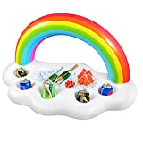 Geekper Inflatable Rainbow Cloud Drink Holder Floating, Beverage Salad Fruit Serving Bar Pool Float Party Accessories Summer Outdoor Leisure Cup Bottle Water Fun