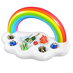 Geekper Inflatable Rainbow Cloud Drink Holder Floating, Beverage Salad Fruit Serving Bar Pool Float Party Accessories Summer Outdoor Leisure Cup Bottle Holder Water Fun Decorations Toys Kids Adults