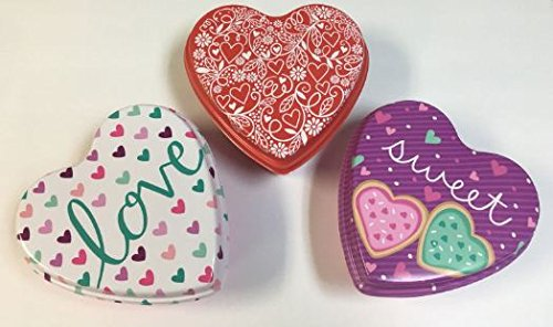 Valentine'ss Day Heart Shaped tins Assorted Among 3 Designs - 3 ct
