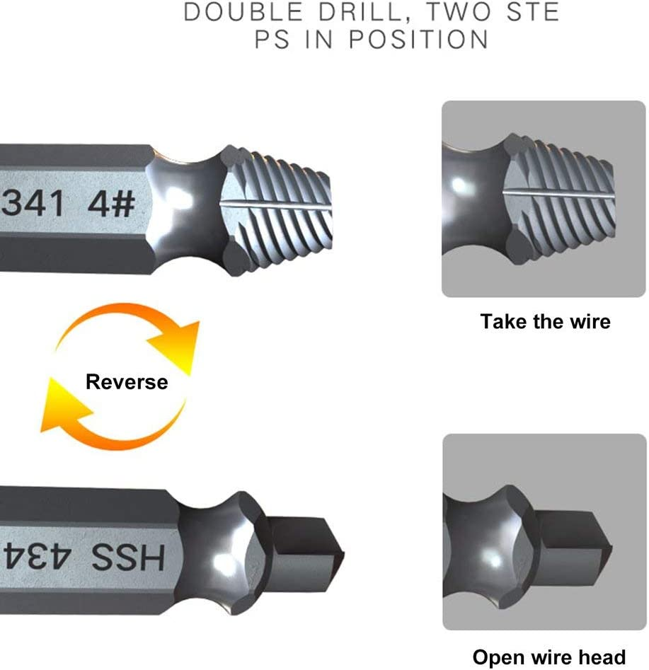 Radicalsign Damaged Screw Extractor Drill Bits Guide Set Broken Speed Out Easy Out Bolt Stud Stripped Screw Remover Tool