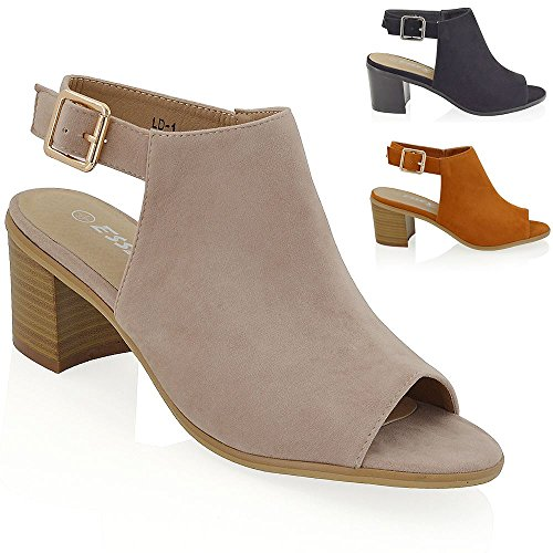 Essex Glam Women's Low Block Heel Peep Toe Back Strap Faux Suede Sandals Shoes