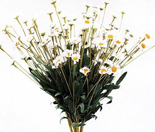 f Artificial Little Daisy Silk Flower Leaf Home Wedding Garden Decor Bouquet Party … (WHITE ) ()