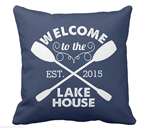 Amazon.com: Welcome to The Lake House - Funda de cojín (18.0 ...