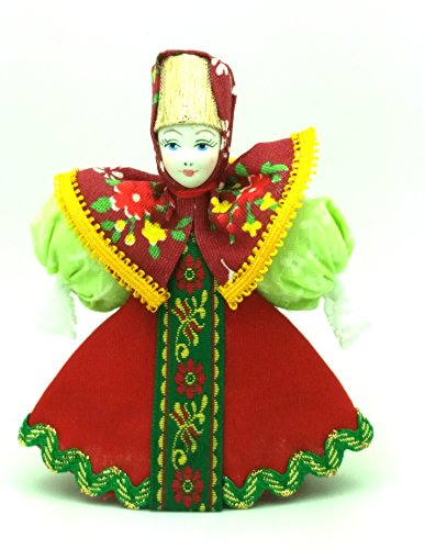 (CHRISTMAS Tree Ornament Russian Doll in traditional folk costume with porcelain hand painted)