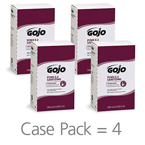 - GOJO PCMX E2 Sanitizing Lotion Soap, Fragrance-Free, 2000 mL Sanitizing Soap Refill for GOJO PRO TDX Push-Style Dispenser (Pack of 4) - 7281-04