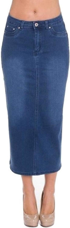 Fashion2Love Women's Juniors Long Pencil Stretch Denim Maxi Skirt with Rips