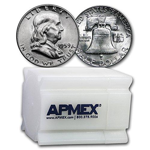 1959 Franklin Half Dollar 20-Coin Roll BU Half Dollar Brilliant Uncirculated