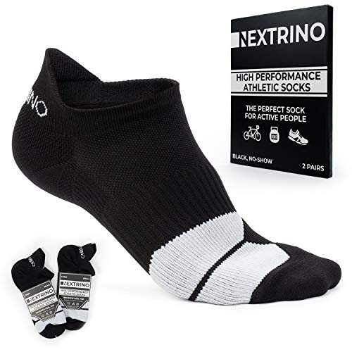 Nextrino High Performance Athletic Socks [2 Pairs] No Show, Low Cut Ankle Sock for Men & Women (Black, Large)