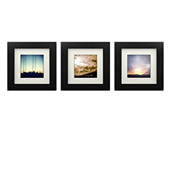 Tiny Mighty Frames 3 Set Wood Square Instagram Photo Frame 6x6 55x55 Window 4x4 Mat 35x35 Window Hanging 3 Black