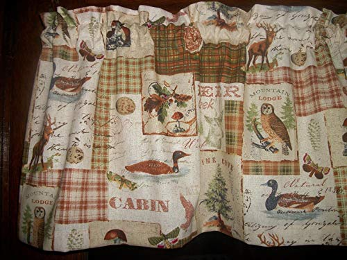 Lodge Drapes Rod Pocket (Northwest Cabin Camp Deer Owl Lodge Duck Mushroom fabric bedroom livingroom family Room Bathroom kitchen curtain Valance 42