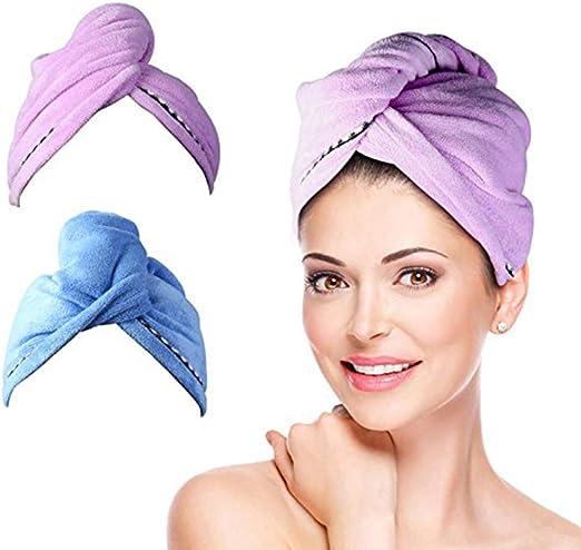 2Pcs pelo turbante toalla wrap [62cmx25 cm] para el pelo Secar ...