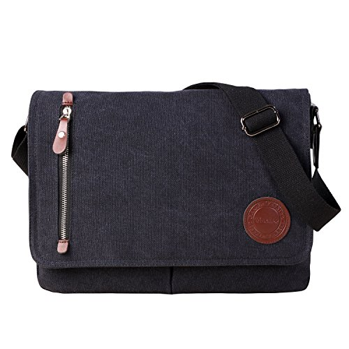 "Vintage Canvas Satchel Messenger Bag for Men Women,Travel Shoulder bag 13.5"" Laptop Bags Bookbag (Black)"