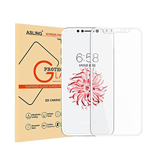 iphone X Screen Protector Tempered Glass White, ASLING Full Cover 3D Curved Edge Screen Film for Apple iphone 10 [Bubble Free]
