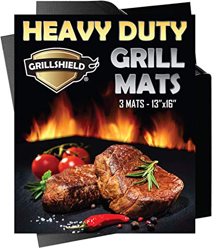 GrillShield Heavy Duty 600 Degree Grill and Bake Mats Set of 3 - Best Gift - 13 X 16 inches Non Stick Mats for BBQ Baking, Reusable and Easy to Clean ()