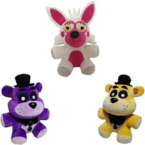 Soft and Beautiful Toys New Foxy & Golden Freddy & Purple Freddy Bear Stuffed Animal Plush Toys 3 pcs/set