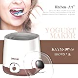 KitchenArt Yogurt Maker KAYM-10WS Yogurt Maker,Seperate Inner Bulk Storage,One Touch Button,Fresh Yogurt,1L