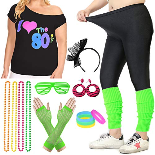 Women Plus Size 80s T-Shirt Pop Party Fancy Costume Outfit Accessory (3XL/4XL, Green)]()