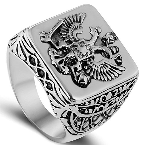 (LILILEO Jewelry Silver Double Headed Imperial Eagle Ring Byzantine Emperor Russian Federation Coat Of Arms Signet For Men's Rings Jewelry)