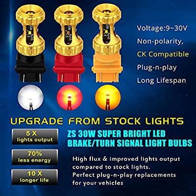 Alla Lighting 3156 3157 LED Red Bulbs 3000lm Extreme Super Bright Turn Signal Stop Brake Tail Lights for Cars, Trucks, Motorcycles T25 3057 3457 4157 4057: Automotive