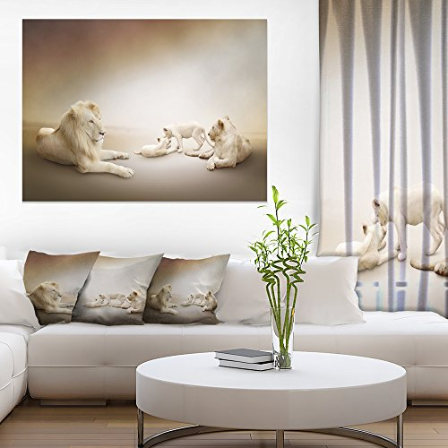 White Lion Family Animal Canvas Wall Art