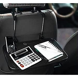 Zone Tech Multi-Functional Portable Car Seat Tray - Black Table/Car Vehicle Seat Portable Mount Tray Laptop Notebook Table Eating Desk Auto Food Drink Cup Holder with Extended Pull Type Small Table