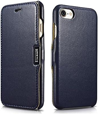 7769921a65 Amazon | ICARER iphone7/8 ケース 手帳型 ガラス張り革 本革 牛革 レザー マグネット 磁力 ブルー | ケース・カバー 通販