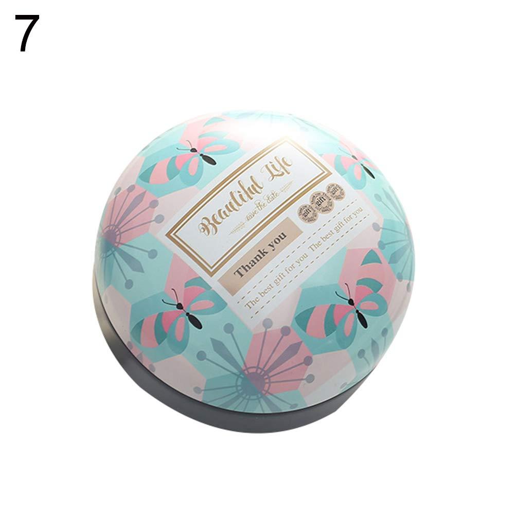 Dds5391 Refined Fashion Wedding Candy Storage Box Tinplate Round Container Trinket Organizer - 7#