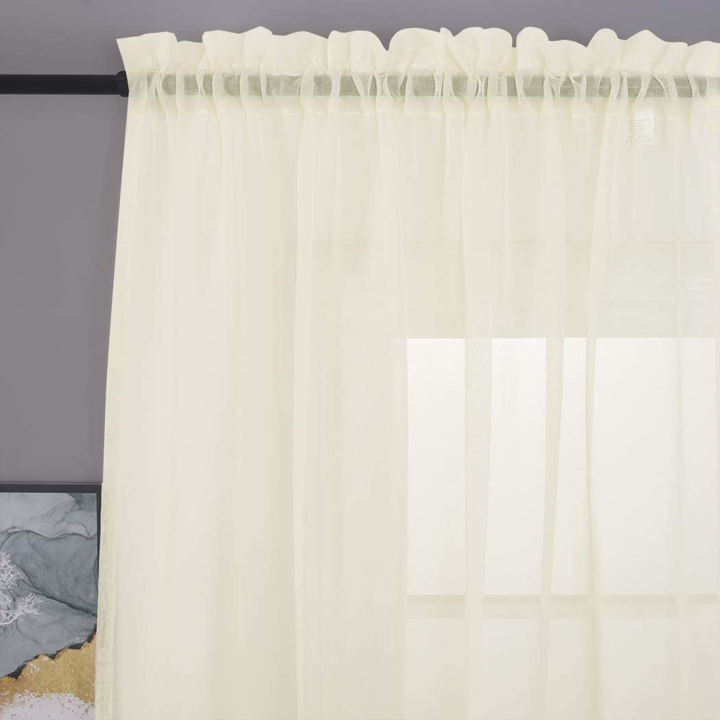 """MYSTIC-HOME Sheer Curtains 45 Inch Length, Rod Pocket Voile Drapes for Living Room, Bedroom, Window Treatments Semi Crinkle Curtain Panels for Yard, Patio, Villa, Set of 2, 52""""x 45"""", Beige"""