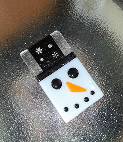 Fused Glass Snowman Soap Dish