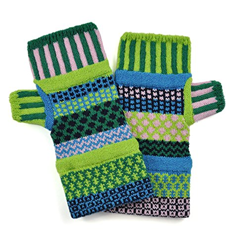 Solmate Socks, Mismatched Fingerless Mittens for Men or Women, Water Lily (Norwegian Mittens)
