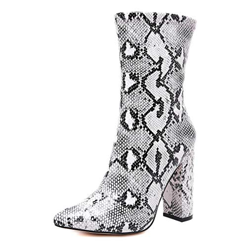 Stupmary Women's Boots Pointed Toe Ankle Bootie Plaid Print Chunky Heels Winter Boots (8, Snake - Booties Winter