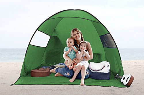 FiveJoy Instant Pop-up Cabana Beach Tent - Automatic Setup in Seconds - Great Sun, UV Protection - Light and Compact to Travel with - Perfect Sun Shelter Shade for Beach, Parks, Picnics, Kids Sports
