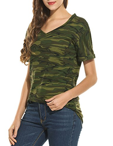 Womens Short Sleeve Camouflage V Neck T-shirt Top Ringer Tee(M, (Camo Ringer)
