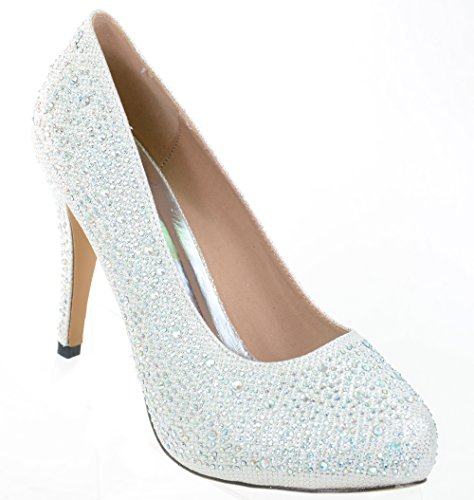Wedding White Beaded Pumps Glitter Formal Party Heels Jeweled LOW rrw1dU