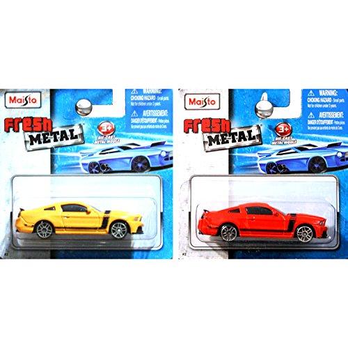 - Maisto Fresh Metal 1:64 Ford Mustang Boss 302 In Orange Red and Orange Yellow Grabber SET OF 2