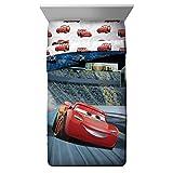 5 Piece Kids Blue Red Lightning McQueen Comforter Twin/Full Set, Racing Cars Bedding Disney Car Themed Racecar Sport Driving Movie Pattern, Reversible Polyester