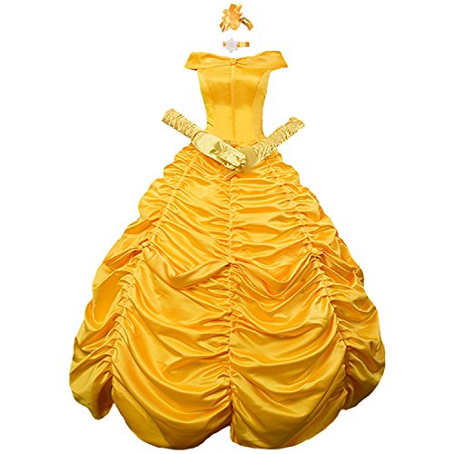 Women's Floor Length Princess Belle Costume Layered Lace up Ball Gown Prom Long Dresses Gloves for $<!--$99.99-->
