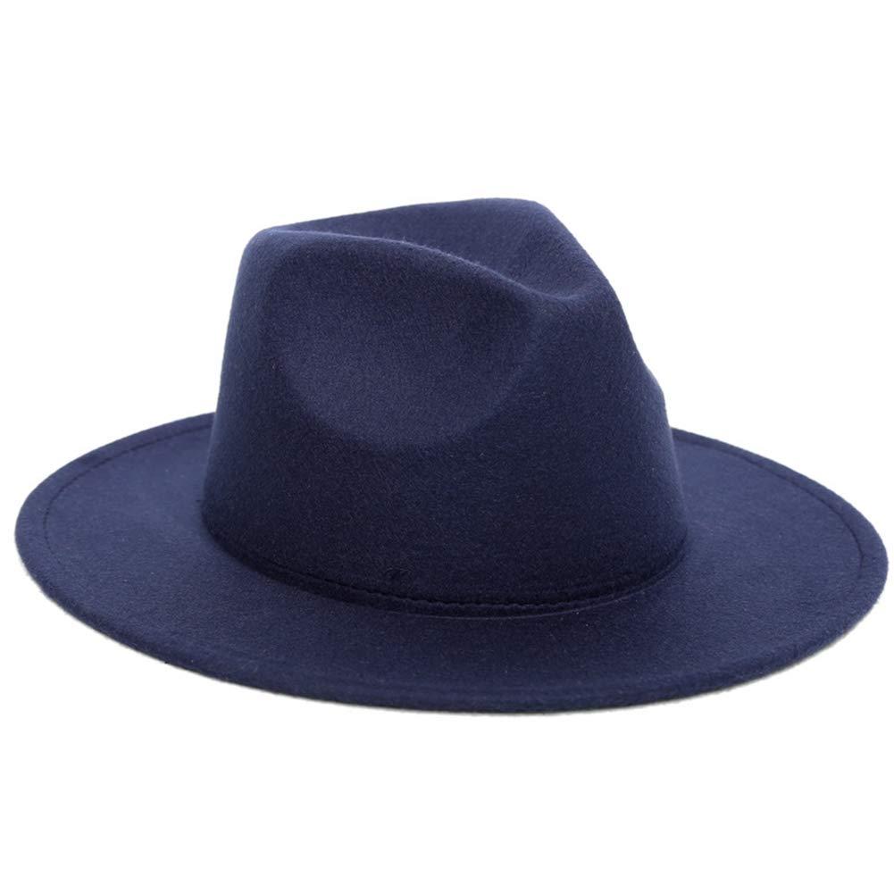Women Wide Brim Wool Fedora Hat Solid Color Trilby Hat Classic Jazz Hat Vintage Gangster Cap